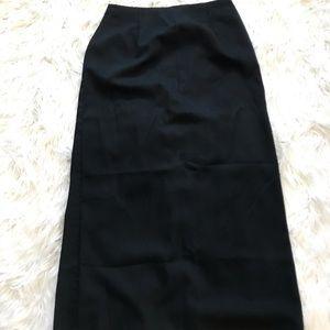 Mid calf black skirt with high back slit